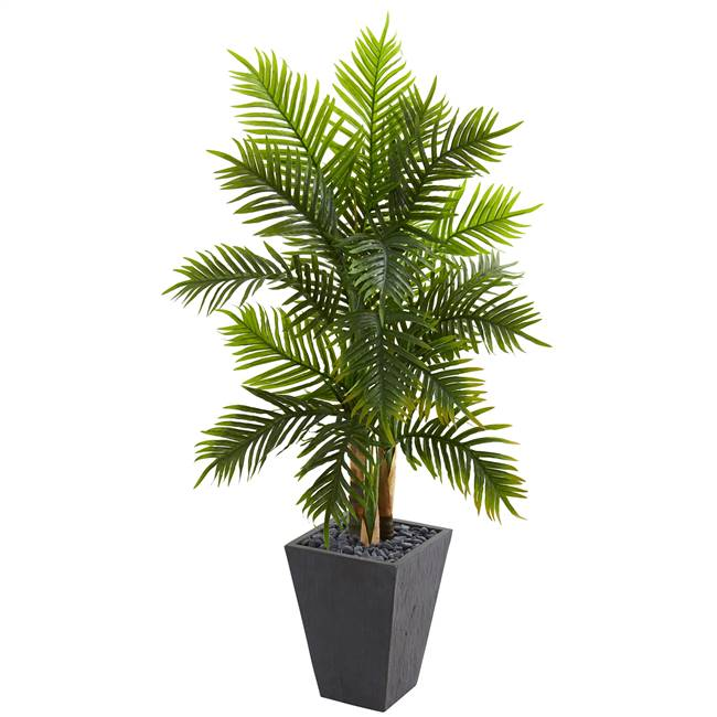 5.5' Areca Palm Artificial Tree in Slate Finished Planter (Real Touch)