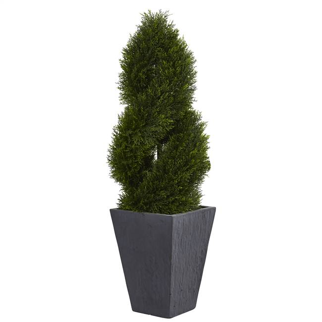4' Cypress Double Spiral Topiary Artificial Tree in Slate Planter UV Resistant (Indoor/Outdoor)