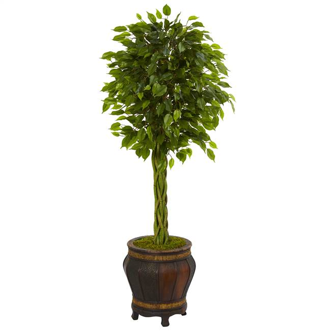 4.5' Braided Ficus Artificial Tree in Planter UV Resistant (Indoor/Outdoor)