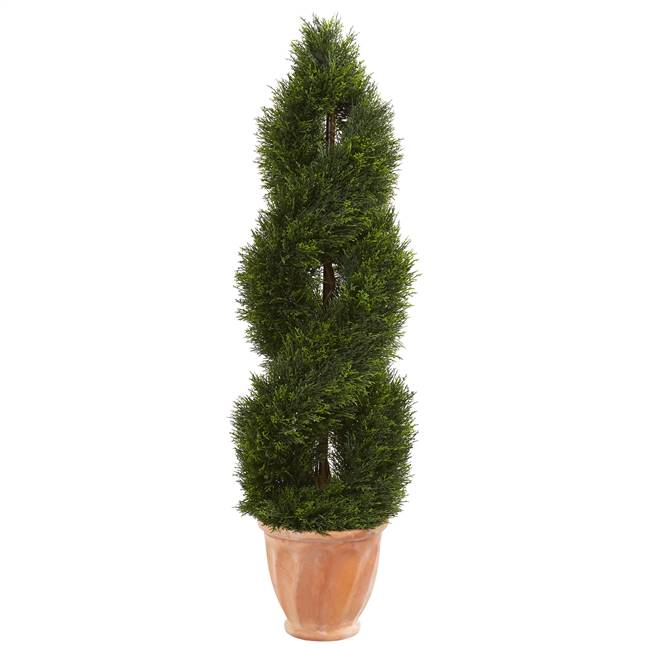 4.5' Double Pond Cypress Topiary Artificial Tree in Terracotta Planter UV Resistant (Indoor/Outdoor)