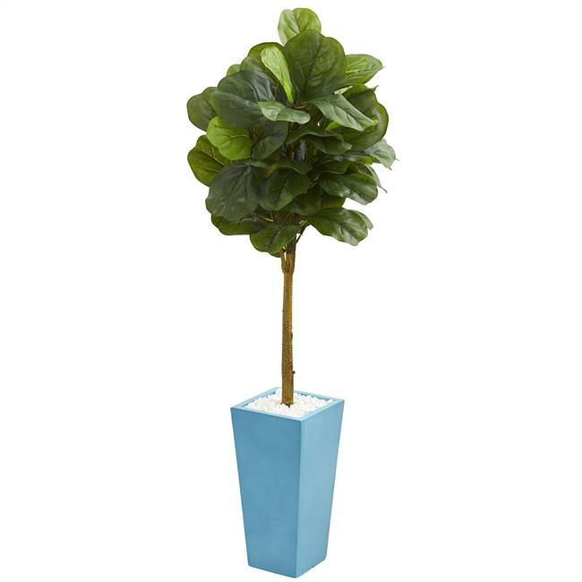 4' Fiddle Leaf Artificial Tree in Turquoise Planter (Real Touch)
