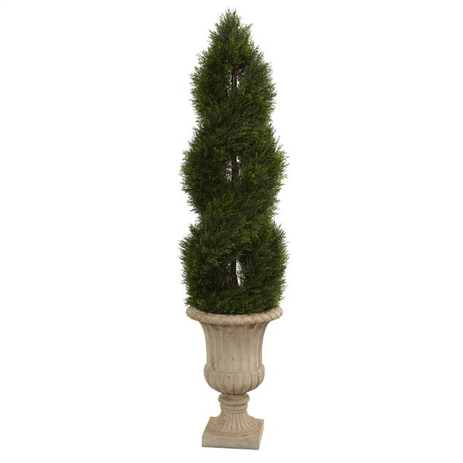 5' Double Pond Cypress Artificial Spiral Topiary Tree in Urn UV Resistant (Indoor/Outdoor)