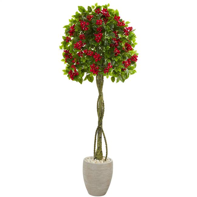 5.5' Bougainvillea Topiary Artificial Tree in Sand Colored Planter