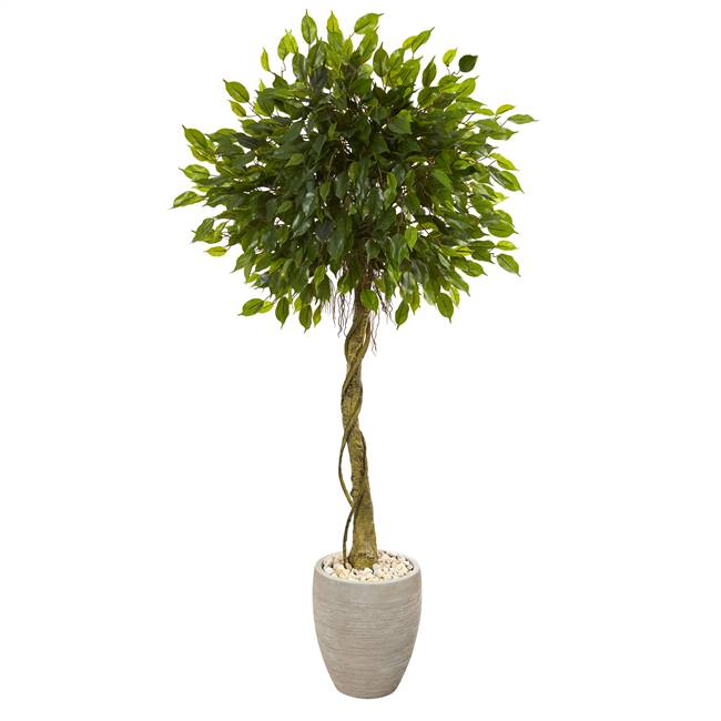 5.5' Ficus Artificial Tree in Oval Planter UV Resistant (Indoor/Outdoor)