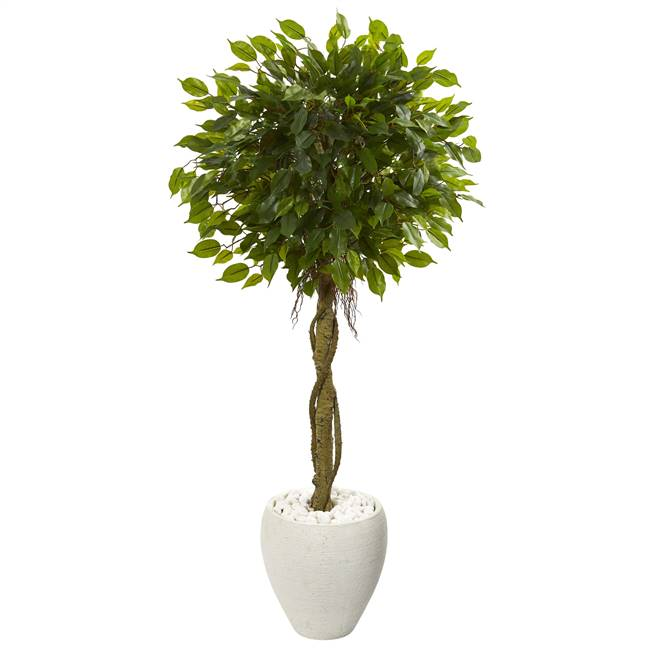4.5' Ficus Artificial Tree in White Oval Planter UV Resistant (Indoor/Outdoor)