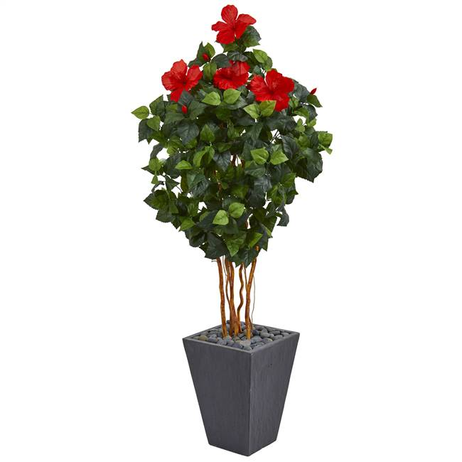 5' Hibiscus Artificial Tree in Slate Planter