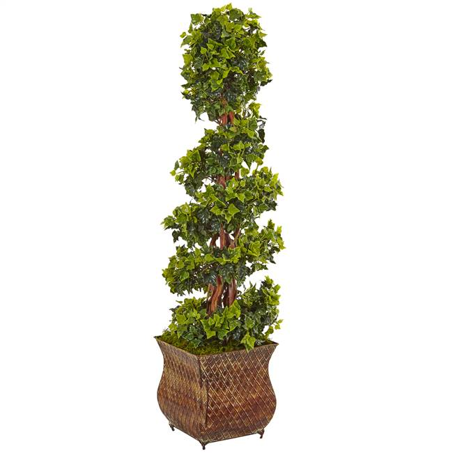 4' English Ivy Spiral Tree in Metal Planter UV Resistant (Indoor/Outdoor)