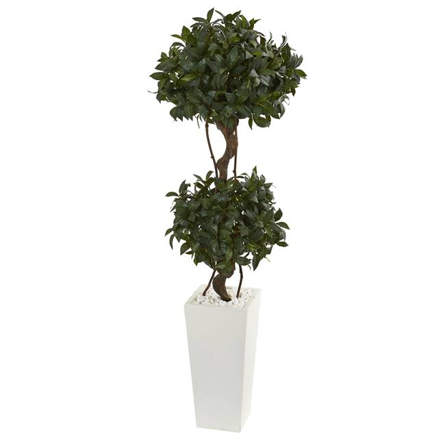 5' Sweet Bay Artificial Double Topiary in White Tower Planter