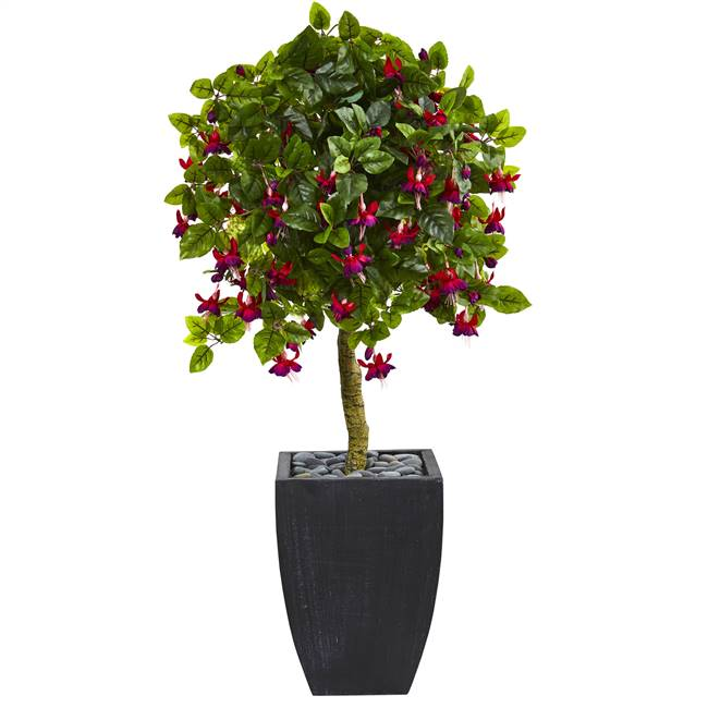 4' Fuschia Artificial Tree in Black Wash Planter