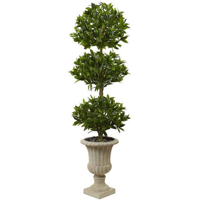 5.5' Triple Bay Leaf Topiary Artificial Tree in Urn UV Resistant (Indoor/Outdoor)