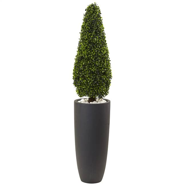 "50"" Boxwood Topiary with Gray Cylindrical Planter UV Resistant (Indoor/Outdoor)"