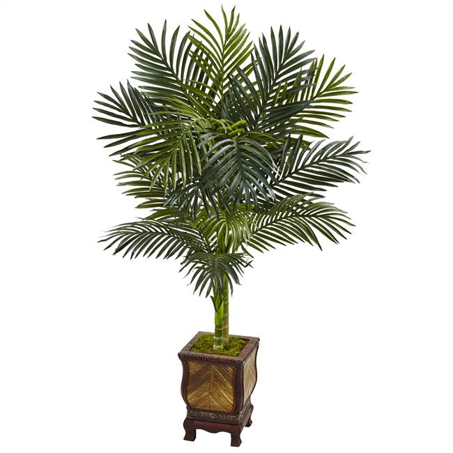 4.5' Golden Cane Palm Tree in Wooden Decorated Planter