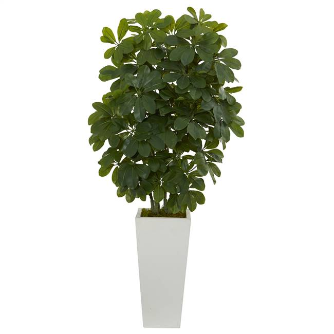 "40"" Schefflera  Artificial Plant in White Vase (Real Touch)"
