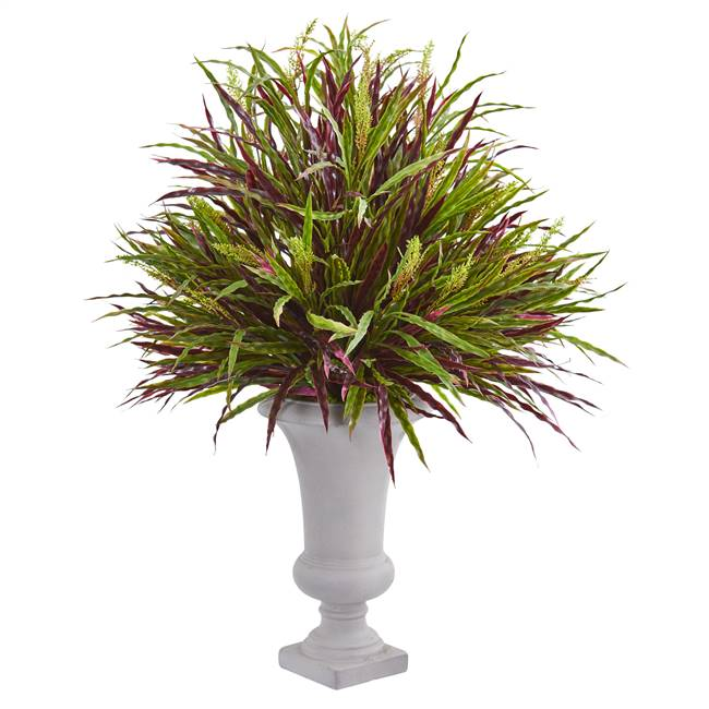 37'' Burgundy Grass Artificial Plant in Elegant Urn