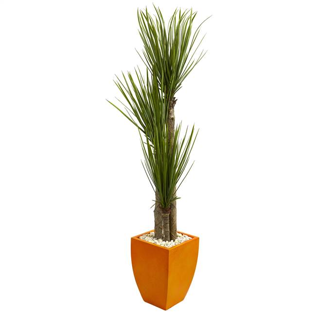 5.5' Triple Stalk Yucca Artificial Plant in Orange Planter