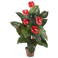 3' Anthurium Silk Plant (Real Touch)