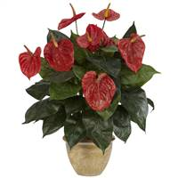 Anthurium w/Ceramic Vase Silk Plant