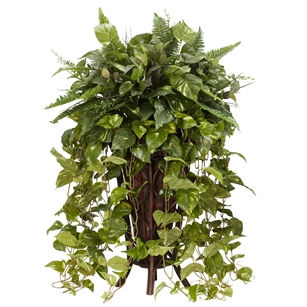 Vining Mixed Greens w/Decorative Stand Silk Plant