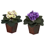 African Violet w/Vase Silk Plant (Set of 2)