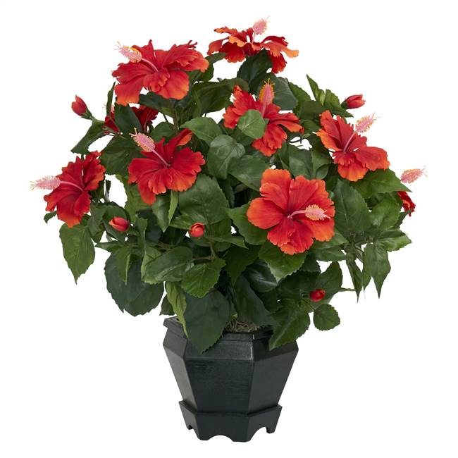 Hibiscus w/Black Hexagon Vase Silk Plant