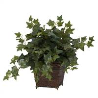 Puff Ivy w/Coiled Rope Planter Silk Plant