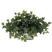 Ivy w/White Wash Planter Silk Plant