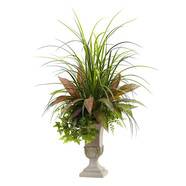 3' Mixed Grass, Dracena, Sage Ivy & Fern w/Planter