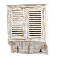 "32"" White Washed Wall Cabinet with Hooks"