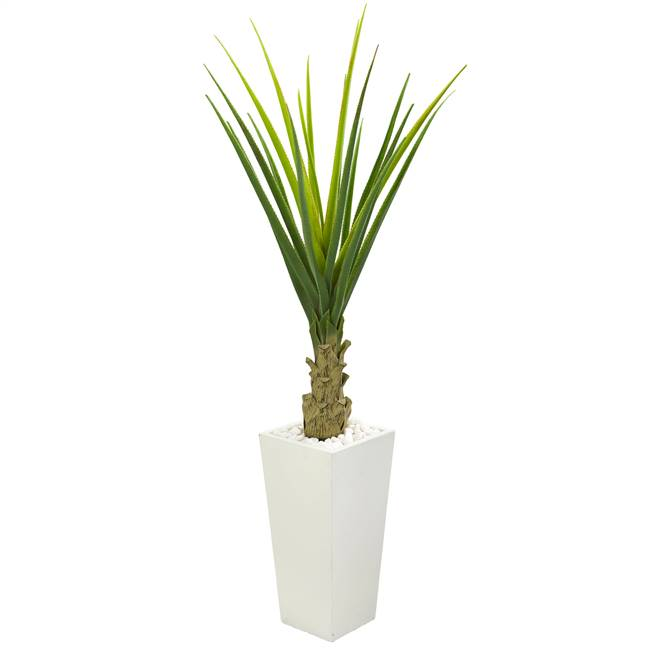 5' Agave Artificial Plant in White Planter