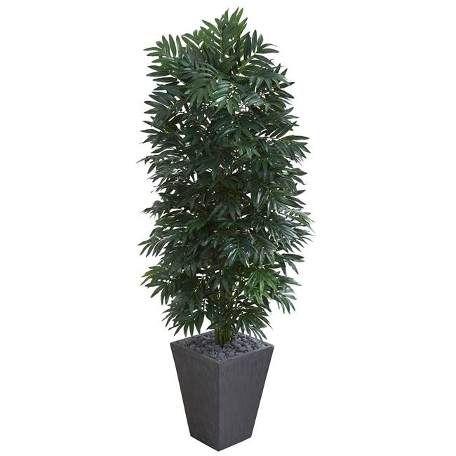 5.5' Double Bamboo Palm Artificial Plant in Slate Finished Planter
