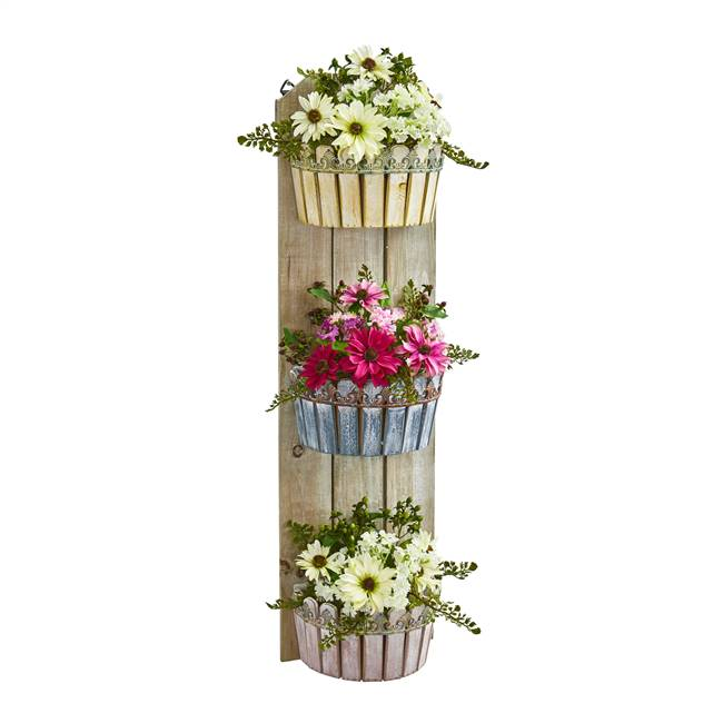 "39"" Mixed Daisy Artificial Plant in Three-Tiered Wall Decor Planter"