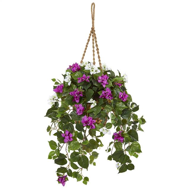 "30"" Mixed Bougainvillea Artificial Plant Hanging Basket"