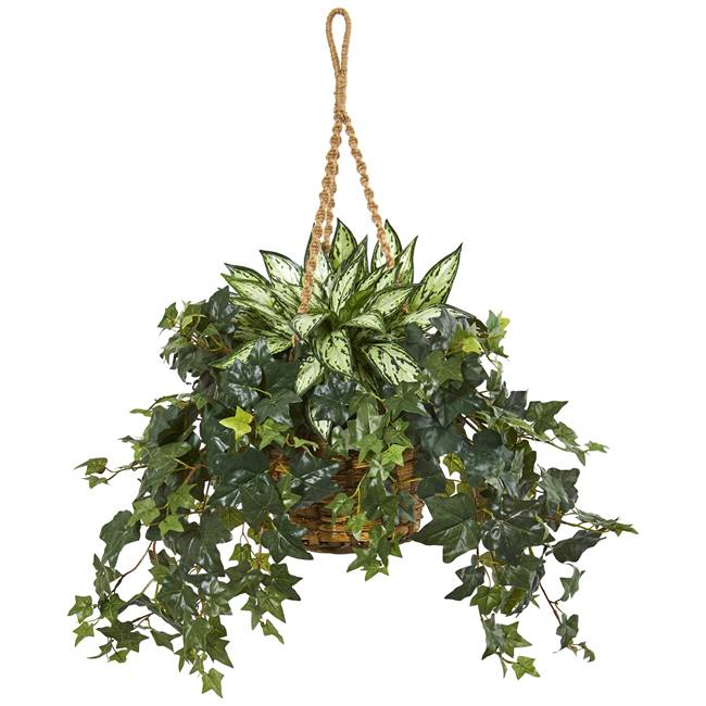 "30"" Silver Queen and Ivy Artificial Plant in Hanging Basket"