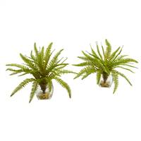 "8"" Fern Artificial Plant in Vase (Set of 2)"