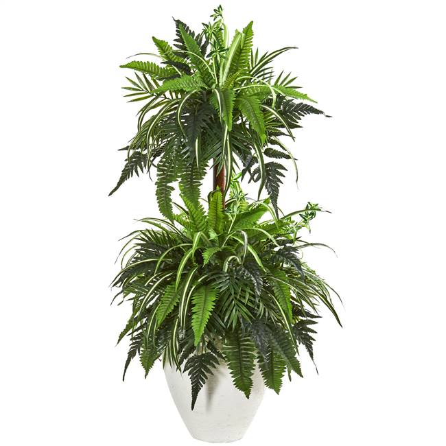 "44"" Mixed Greens and Fern Artificial Plant in White Planter"