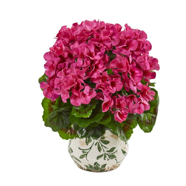 "12"" Geranium Artificial Plant in Vase UV Resistant (Indoor/Outdoor)"
