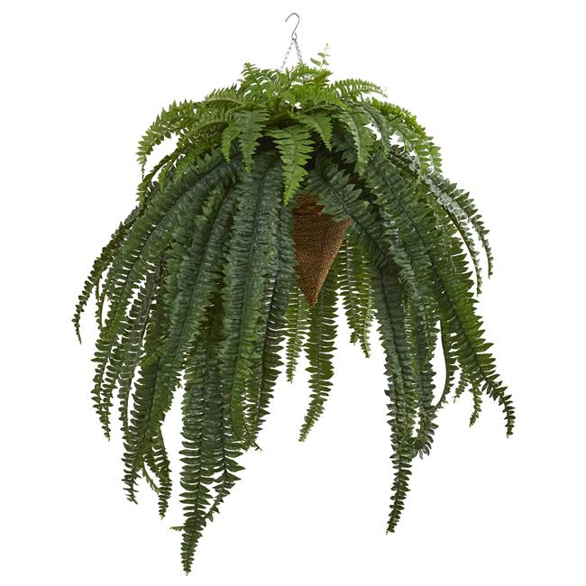 "50"" Giant Boston Fern Artificial Plant in Hanging Cone"