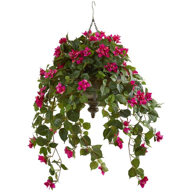 "37"" Bougainvillea Artificial Plant in Hanging Metal Bowl"