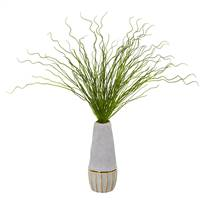 "23"" Curly Grass Artificial Plant in Decorative Planter"