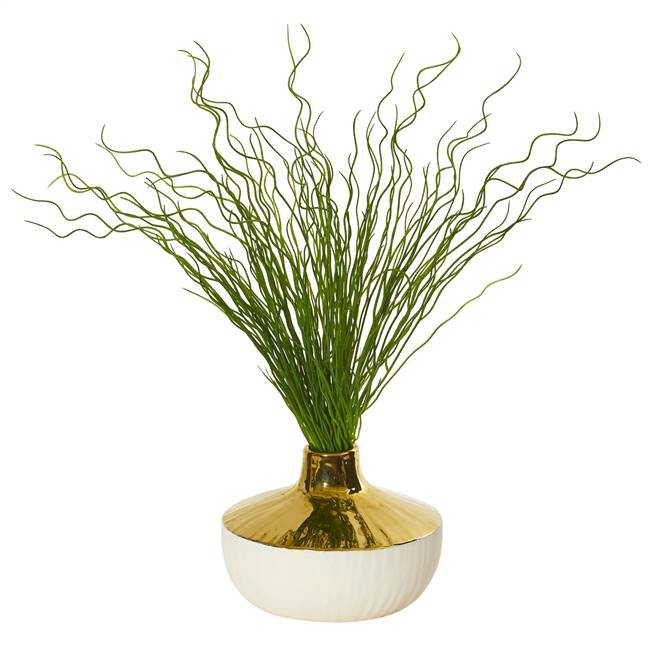 "19"" Curly Grass Artificial Plant in Designer Planter"