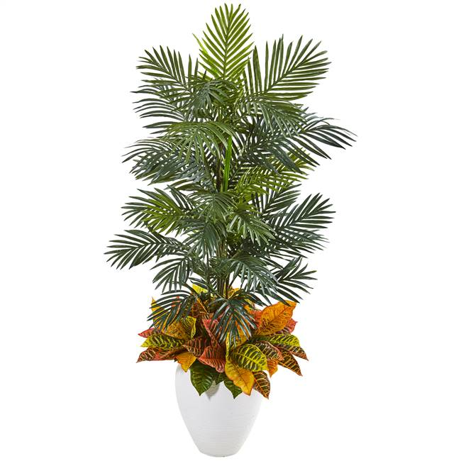 "56"" Areca Palm and Croton Artificial Plant in White Planter"