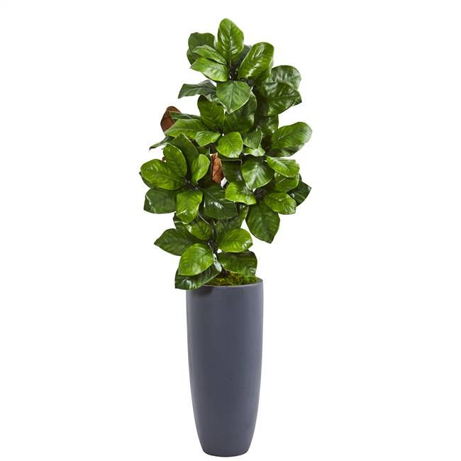 "44"" Magnolia Leaf Artificial Plant in Gray Planter"