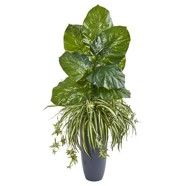 "49"" Spider and Pothos Artificial Plant in Gray Planter"