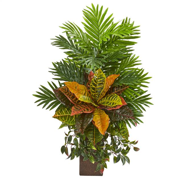 "32"" Areca Palm and Croton Artificial Plant in Weathered Vase"