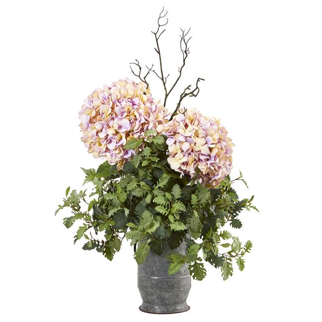 "44"" Hydrangea and Dusty Miller Artificial Plant in Metal Urn"