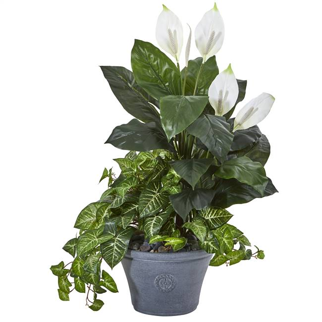 "39"" Spathifyllum and Nepthytis Artificial Plant in Gray Planter"