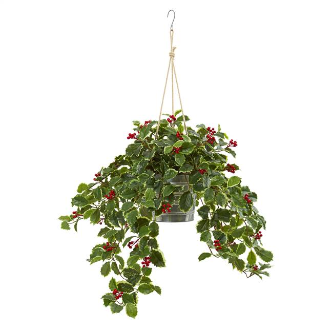 "42"" Variegated Holly Berry Artificial Plant in Hanging Bucket (Real Touch)"