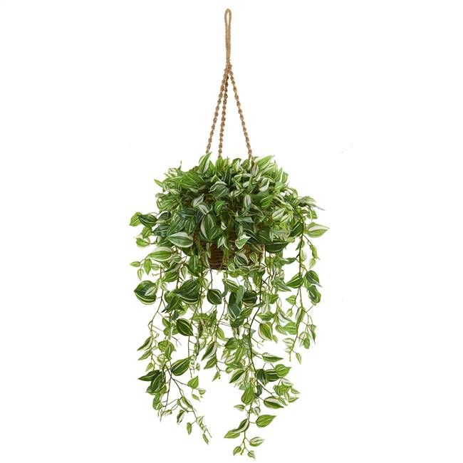 "51"" Wandering Jew Artificial Plant in Hanging Basket (Real Touch)"