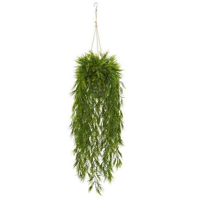 "50"" Mini Bamboo Artificial Plant in Hanging Metal Bucket"