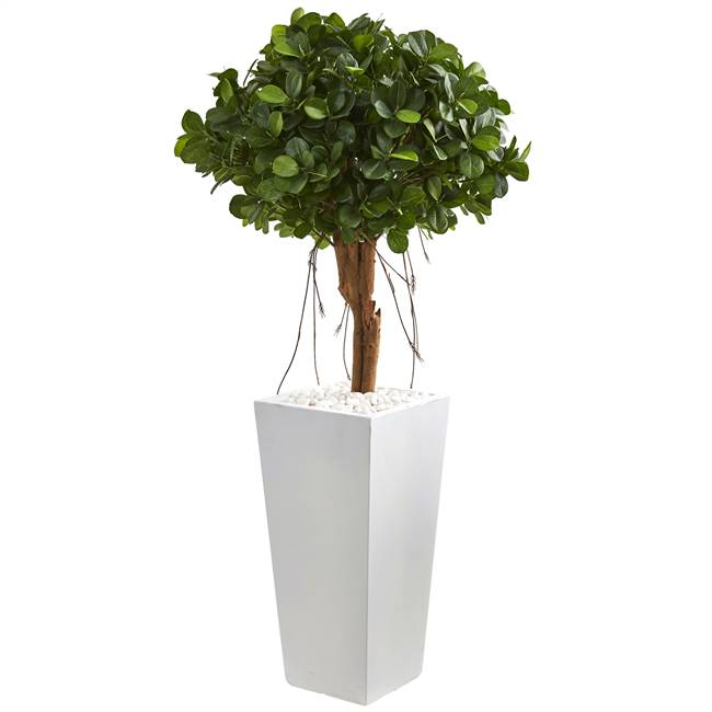 "45"" Ficus Artificial Tree in White Tower Planter"